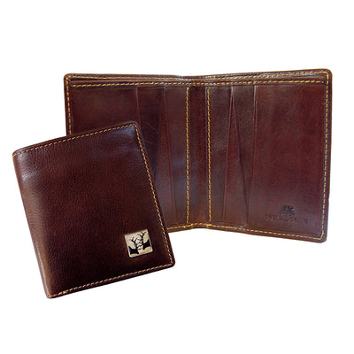TYLER & TYLER Real Brown Leather Jeans Wallet Rutting Stags