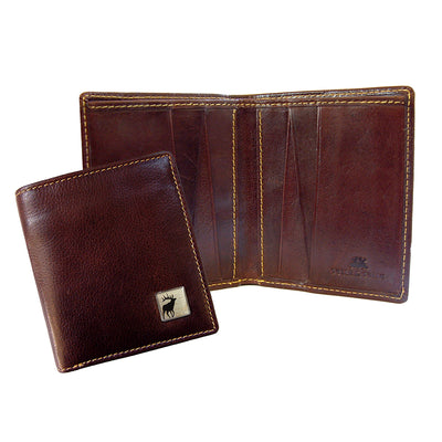TYLER & TYLER Real Brown Leather Jeans Wallet Stag