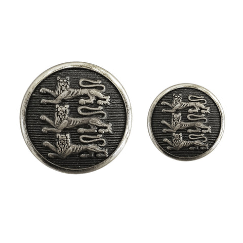 TYLER & TYLER Blazer Buttons Three Lions Antique Silver Large and Small