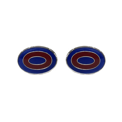 TYLER & TYLER Capsule Bold Cufflinks Ripple Blue and Burgundy Enamel Front