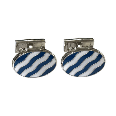 TYLER & TYLER Capsule Bold Cufflinks Wave Navy and White Enamel Front
