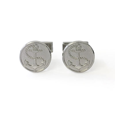 TYLER & TYLER Capsule Cufflinks Anchor Silver Finish Front