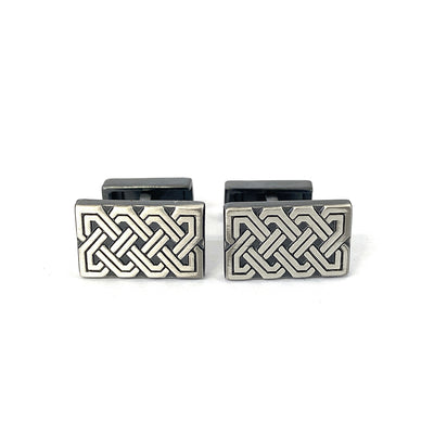 TYLER & TYLER Capsule Cufflinks Knot Antique Silver Finish Front