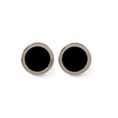 TYLER & TYLER Capsule Two-Tone Hide Cufflinks Black Front