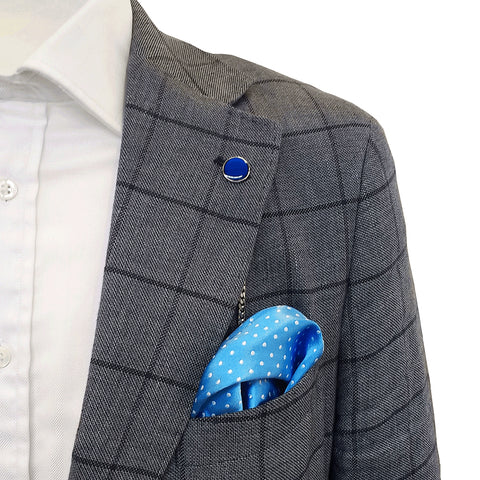 TYLER & TYLER Lapel Chain Blue on Jacket