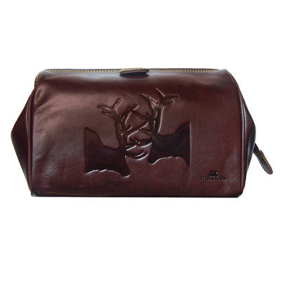TYLER & TYLER Luxury Real Leather Washbag Rutting Stags