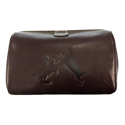 TYLER & TYLER Luxury Real Leather Washbag Sparring Hares