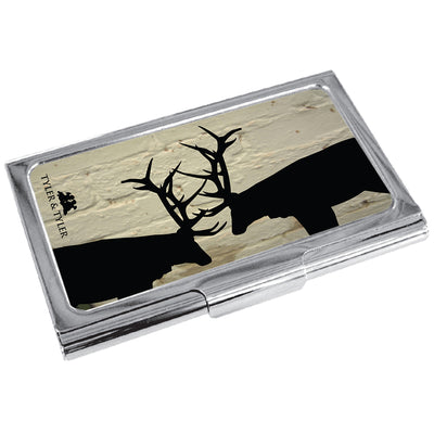 TYLER & TYLER Metal Business Card Holder Rutting Stags