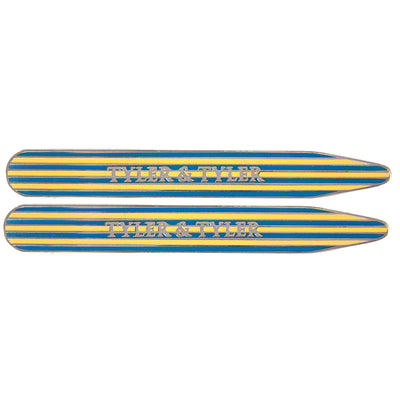 TYLER & TYLER Metal Collar Stays Pinstripe Yellow and Blue Enamel