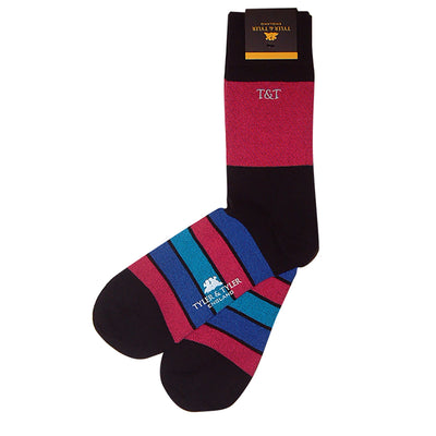 TYLER & TYLER Rich Cotton Men's Socks Kaleidoscope Black