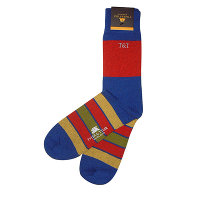 TYLER & TYLER Rich Cotton Men's Socks Kaleidoscope Blue
