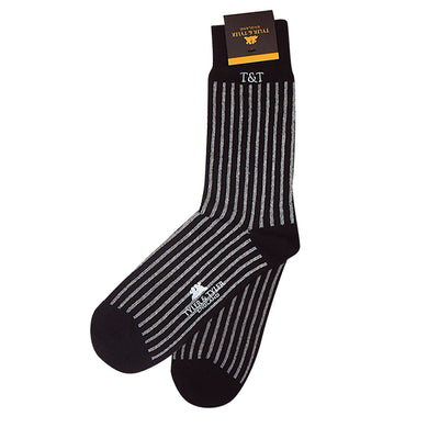 TYLER & TYLER Rich Cotton Men's Socks Pinstripe Wide Black