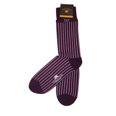 TYLER & TYLER Rich Cotton Men's Socks Pinstripe Wide Purple