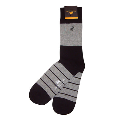 TYLER & TYLER Rich Cotton Men's Socks Single Stripe Black and Grey