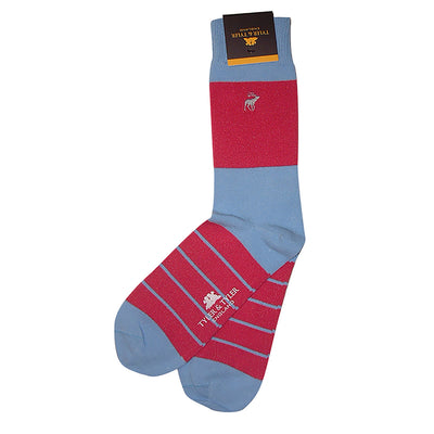 TYLER & TYLER Rich Cotton Men's Socks Single Stripe Bright Pink and Light Blue