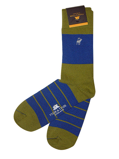 TYLER & TYLER Rich Cotton Men's Socks Single Stripe Green and Blue