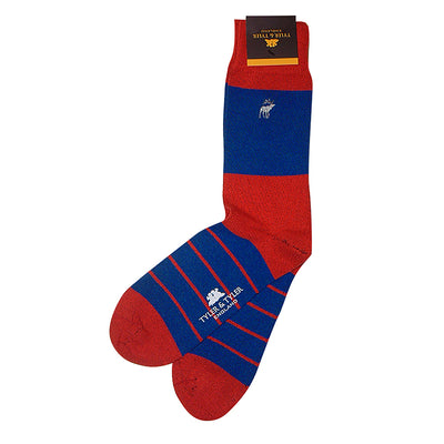 TYLER & TYLER Rich Cotton Men's Socks Single Stripe Red and Blue