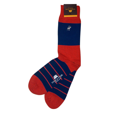 TYLER & TYLER Rich Cotton Men's Socks Single Stripe Red and Navy