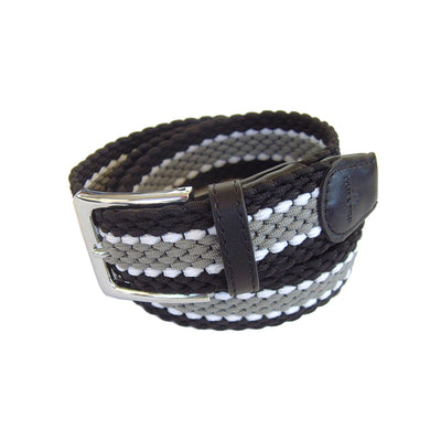 TYLER & TYLER Stripe Black, White and Grey Woven Belt
