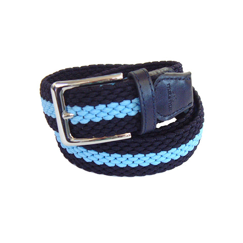 TYLER & TYLER Stripe Navy and Light Blue Woven Belt