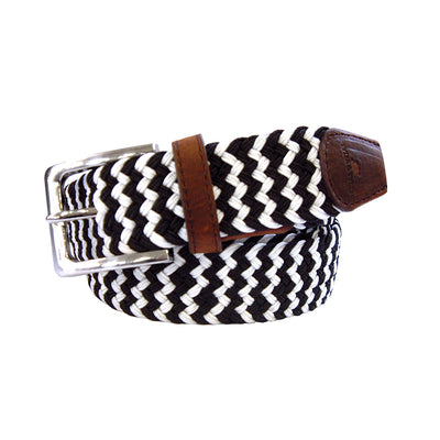TYLER & TYLER Zig Zag Black and White Woven Belt