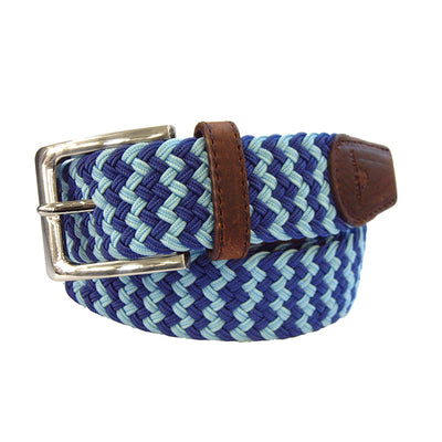 TYLER & TYLER Zig Zag Blue and Light Blue Belt