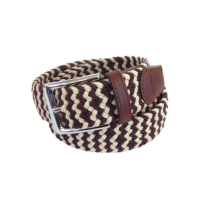 TYLER & TYLER Zig Zag Brown and Cream Woven Belt
