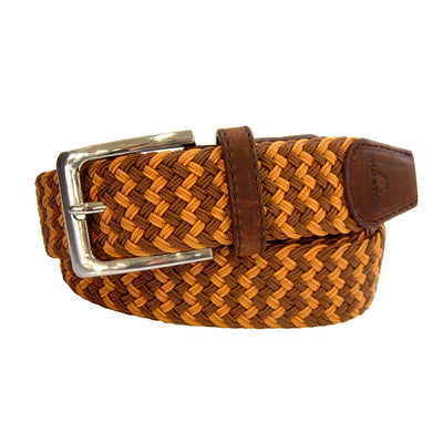 TYLER & TYLER Zig Zag Brown and Orange Woven Belt