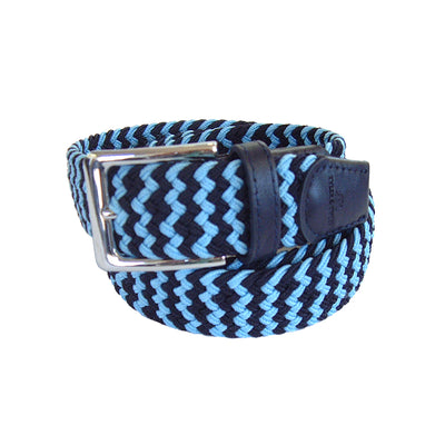 TYLER & TYLER Zig Zag Navy and Light Blue Woven Belt