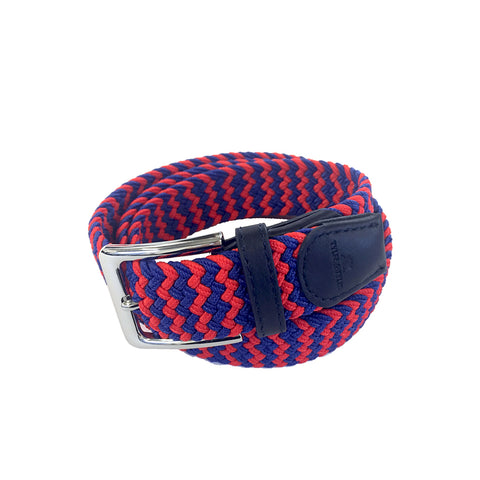TYLER & TYLER Zig Zag Red and Blue Woven Belt