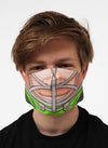 green hockey player face mask face guard
