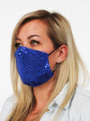 royal blue sparkle face mask guard