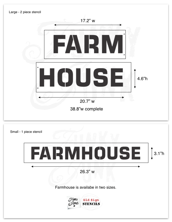 FJ30 Funky Junks' FARMHOUSE Stencil - 2 sizes available