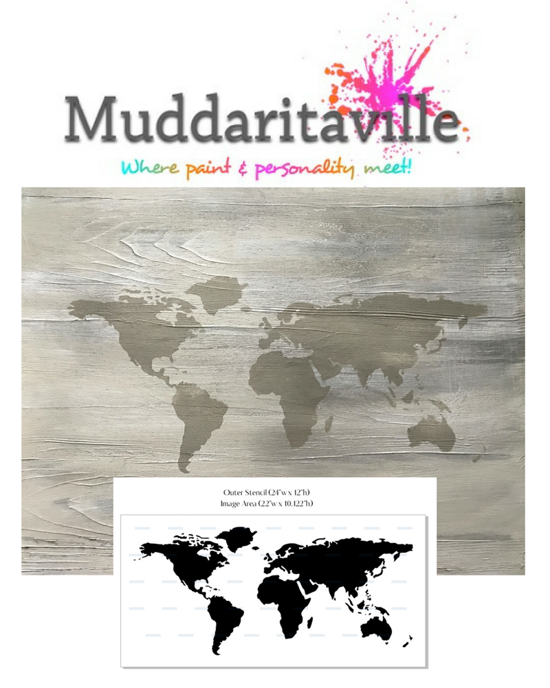 World Map Stencil   Medium, Used By Jennylyn Pringle From Fusion Mineral  Paint In Her