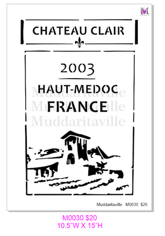 M0030 Wine Label stencil **Updated