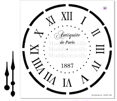 M0061 Paris Clock Stencil