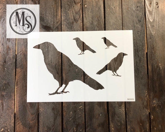 M0089 Crow Stencil - 4 sizes on one stencil