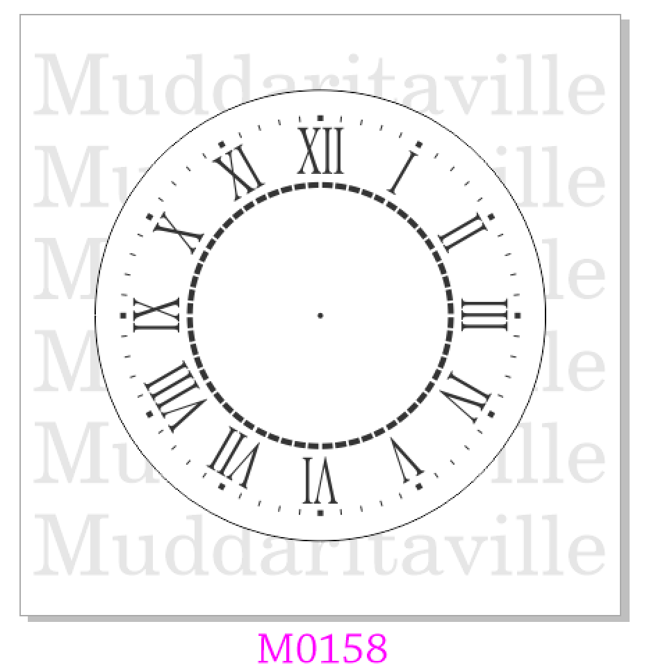 M0158 Farmhouse Clock Stencil with outer and centre trim - available in 2 sizes