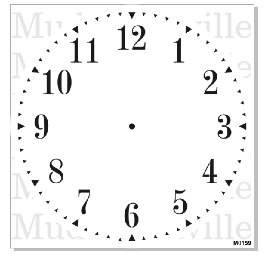 M0159 Clock Stencil With Regular Numbers 3 Sizes Available - 3-roman-numerals-clocks