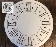 M0222 Clock with larger roman numerals and diamonds - 3 size options