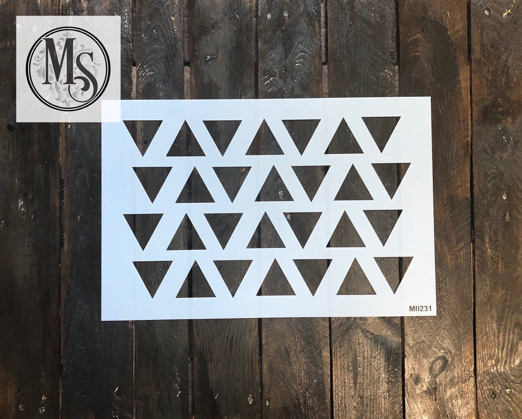 "M0231 Triangle pattern stencil - 2"" triangles"