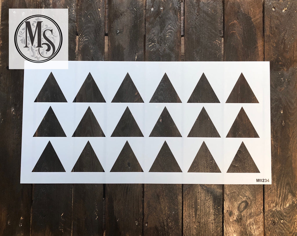 "M0234 Triangle pattern stencil - 3"" triangles"