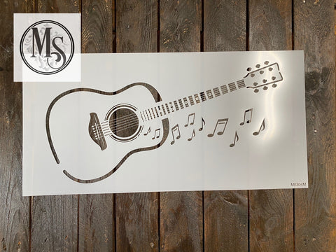 Guitar and musical notes in 2 sizes