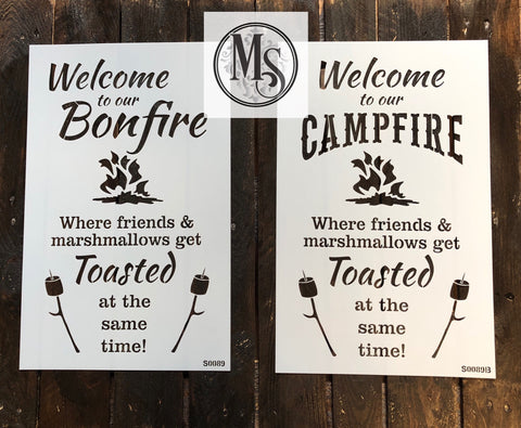 S0089 Bonfire or Campfire Stencil (2 options)