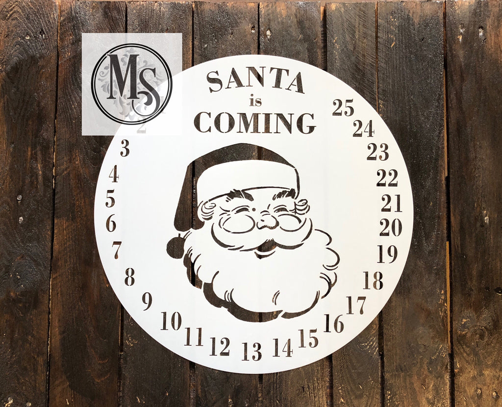 S0419 Santa is Coming Advent Clock - 2 sizes available
