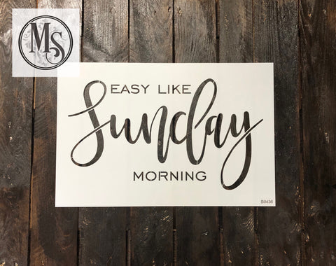 "S0436 Easy like Sunday morning - 12"" x 18"" outer stencil"