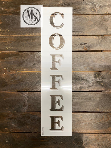 "S0457 Vertical Coffee with Drop Shadow- 2 sizes 24"" & 36"""