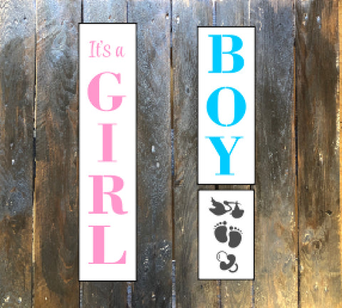 S0524 it's a Girl/Boy Vertical Sign set