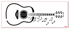 M0304 Guitar and musical notes in 2 sizes