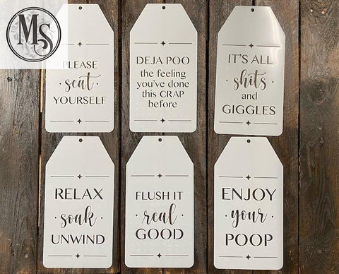 S0698B - Bathroom Tags - STENCIL OPTION ONLY - 12 different messages